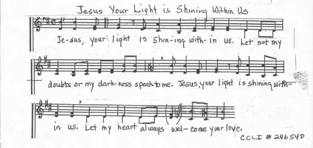 Jesus Your Light is Shining within us