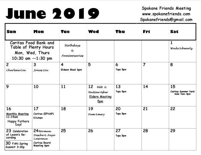 June cal 2019