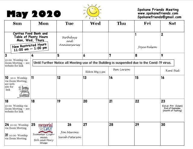 May 2020 Calendar 2
